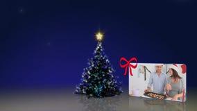 Ζωτικότητα χριστουγεννιάτικων δέντρων με τους ανθρώπους απόθεμα βίντεο
