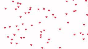 Ζωτικότητα Loopable που κινείται αργά επάνω στο ροζ όπως τις καρδιές εικονιδίων στο άσπρο υπόβαθρο διανυσματική απεικόνιση