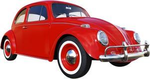 Ζωύφιο της VW, το κόκκινο Volkswagen, που απομονώνεται, αναδρομικό Στοκ Εικόνες
