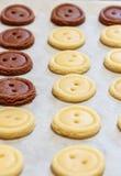 ζύμη ακατέργαστη Κίτρινα και καφετιά κουμπιά μπισκότων Στοκ Εικόνα