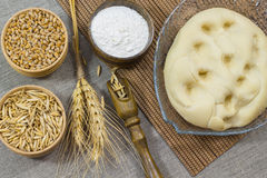 Ζύμη, αλεύρι, βρώμες σιταριού σίτου κλαδίσκων και σιτάρι σίτου Στοκ Εικόνες