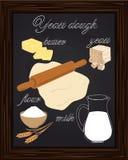 Ζύμη συνταγής ζύμης με το γάλα, βούτυρο, αλεύρι, Στοκ Εικόνες