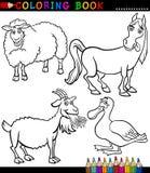 Ζώα αγροκτημάτων κινούμενων σχεδίων για το χρωματισμό του βιβλίου Στοκ Εικόνα