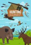 Ζώα εποχής κυνηγιού, εξοπλισμός πυρομαχικών κυνηγών απεικόνιση αποθεμάτων