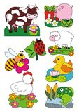 Ζώα καθορισμένα, διανυσματική απεικόνιση, αγρόκτημα και τομείς στοκ εικόνες με δικαίωμα ελεύθερης χρήσης