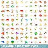 100 ζώα και εικονίδια εγκαταστάσεων καθορισμένα, ύφος κινούμενων σχεδίων Στοκ εικόνες με δικαίωμα ελεύθερης χρήσης