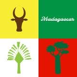 Ζώα και φυτά της Μαδαγασκάρης: δέντρο αδανσωνιών, zebu, ravenala Στοκ εικόνα με δικαίωμα ελεύθερης χρήσης
