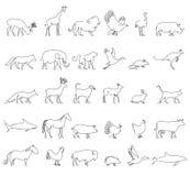 Ζώα μιας γραμμής καθορισμένα, λογότυπα απόθεμα απεικόνισης κατασκευής κάτω από το διάνυσμα Τουρκία και αγελάδα, χοίρος και αετός, Στοκ φωτογραφίες με δικαίωμα ελεύθερης χρήσης