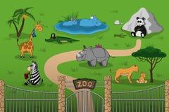Ζώα του ζωολογικού κήπου στο ύφος κινούμενων σχεδίων Σκηνή με τους αστείους χαρακτήρες Αφίσα άγριας φύσης Στοκ Φωτογραφία