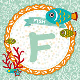 Ζώα ABC: Το Φ είναι ψάρι Αγγλικό αλφάβητο παιδιών διάνυσμα Στοκ Φωτογραφίες