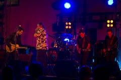 Ζώνη + κιθάρα Ray ζωντανό @ Valbondione μπλε Treves Στοκ Εικόνες