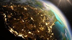 Ζώνη της Βόρειας Αμερικής πλανήτη Γη που χρησιμοποιεί τη NASA δορυφορικών καλολογικών στοιχείων Στοκ φωτογραφία με δικαίωμα ελεύθερης χρήσης