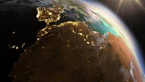 Ζώνη της Βόρειας Αφρικής πλανήτη Γη που χρησιμοποιεί τη NASA δορυφορικών καλολογικών στοιχείων Στοκ Εικόνες