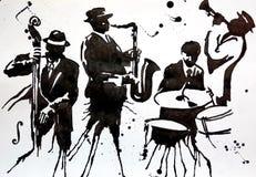 Ζώνη της Jazz Ορχήστρα ταλάντευσης της Jazz Σκιαγραφίες Διεθνής ημέρα της Jazz γιορτάζεται ετησίως στις 30 Απριλίου απεικόνιση αποθεμάτων