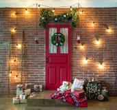Ζώνη φωτογραφιών Χριστουγέννων στο εκλεκτής ποιότητας ύφος Στοκ Εικόνες