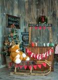 Ζώνη φωτογραφιών Χριστουγέννων στο εκλεκτής ποιότητας ύφος Στοκ φωτογραφία με δικαίωμα ελεύθερης χρήσης