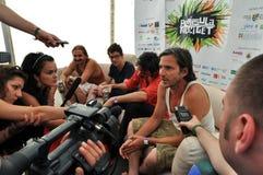 Ζώνη Kistehen από την Ουγγαρία κατά τη διάρκεια μιας συνέντευξης τύπου πριν από τη ζωντανή συναυλία τους Στοκ Φωτογραφία