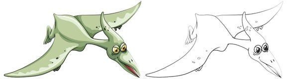 Ζώο Doodle για το δεινόσαυρο πουλιών διανυσματική απεικόνιση