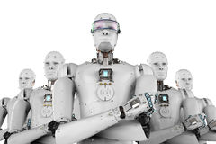 Ηγέτης ρομπότ με την ομάδα Στοκ Εικόνες