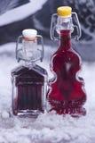 ` Ηδύποτο από τα κεράσια και μούρο έμφραξης στα όμορφα μικρά μπουκάλια ` στοκ εικόνα