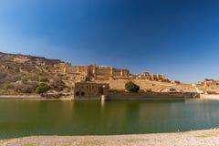 Ηλέκτρινο οχυρό, εντυπωσιακές τοπίο και εικονική παράσταση πόλης, διάσημος προορισμός ταξιδιού στο Jaipur, Rajasthan, Ινδία στοκ φωτογραφίες