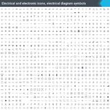 Ηλεκτρικά και ηλεκτρονικά εικονίδια, ηλεκτρικά σύμβολα διαγραμμάτων Στοιχεία διαγραμμάτων κυκλώματος Ανατροφοδοτήστε τα διανυσματ Στοκ εικόνα με δικαίωμα ελεύθερης χρήσης