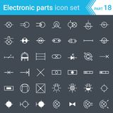 Ηλεκτρικά και ηλεκτρονικά εικονίδια, ηλεκτρικά σύμβολα διαγραμμάτων φωτισμός Στοκ εικόνες με δικαίωμα ελεύθερης χρήσης
