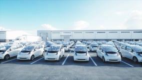 Ηλεκτρικά νέα αυτοκίνητα στο απόθεμα Αυτοκίνητα εμπορίας αυτοκινήτων για την πώληση εικόνες οικολογίας έννοιας πολύ περισσότεροι  απεικόνιση αποθεμάτων