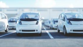 Ηλεκτρικά νέα αυτοκίνητα στο απόθεμα Αυτοκίνητα εμπορίας αυτοκινήτων για την πώληση εικόνες οικολογίας έννοιας πολύ περισσότεροι  διανυσματική απεικόνιση