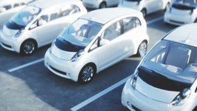Ηλεκτρικά νέα αυτοκίνητα στο απόθεμα Αυτοκίνητα εμπορίας αυτοκινήτων για την πώληση εικόνες οικολογίας έννοιας πολύ περισσότεροι  ελεύθερη απεικόνιση δικαιώματος