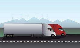 Ηλεκτρικά φορτηγά με τα ρυμουλκά Στοκ φωτογραφία με δικαίωμα ελεύθερης χρήσης