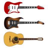Ηλεκτρική κιθάρα, ένα σύνολο ρεαλιστικών ηλεκτρικών κιθάρων ελεύθερη απεικόνιση δικαιώματος