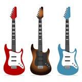 Ηλεκτρική κιθάρα, ένα σύνολο ρεαλιστικών ηλεκτρικών κιθάρων διανυσματική απεικόνιση