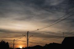 Ηλεκτρική σκιαγραφία πόλων με τον ουρανό ηλιοβασιλέματος Στοκ Φωτογραφίες