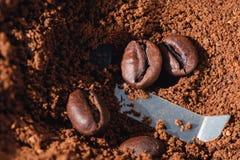 Ηλεκτρικός μύλος καφέ με τα ψημένα φασόλια καφέ εσωτερικά και την κινηματογράφηση σε πρώτο πλάνο σιταριών καφέ Στοκ φωτογραφίες με δικαίωμα ελεύθερης χρήσης
