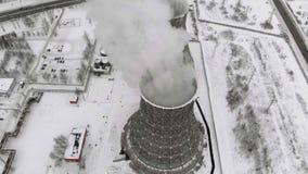 Ηλεκτρικός σταθμός θερμότητας το χειμώνα εναέρια όψη Τοπ άποψη, copter βλαστός φιλμ μικρού μήκους