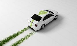 Ηλεκτρικό αυτοκίνητο με τα ίχνη χλόης, τρισδιάστατη απόδοση Στοκ φωτογραφία με δικαίωμα ελεύθερης χρήσης