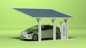 Ηλεκτρικό αυτοκίνητο με το ηλεκτρικό βούλωμα απεικόνιση αποθεμάτων