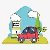 Ηλεκτρικό αυτοκίνητο με το σταθμό επαναφορτίσεων καλωδίου τροφοδοσίας και ενέργειας Απεικόνιση αποθεμάτων