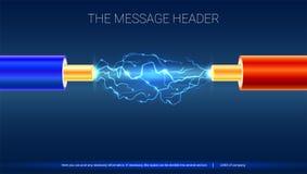 Ηλεκτρικό καλώδιο με τους σπινθήρες Οριζόντιο σχέδιο για την παρουσίαση, τις αφίσες, την τέχνη κάλυψης, τα εμβλήματα ή τη διαφήμι διανυσματική απεικόνιση