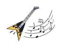 Ηλεκτρικό μουσικό όργανο κιθάρων με τις σημειώσεις διανυσματική απεικόνιση