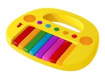 Ηλεκτρικό πιάνο παιχνιδιών παιδιών ` s κίτρινο με τα πολύχρωμα κλειδιά και τα κουμπιά απεικόνιση αποθεμάτων