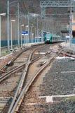 Ηλεκτρισμένοι σιδηρόδρομος και σταθμός Riola, Μπολόνια, Αιμιλία-Ρωμανία, Ιταλία Στοκ Φωτογραφίες