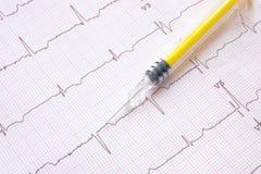 Ηλεκτροκαρδιογράφημα με την κίτρινη χρωματισμένη σύριγγα στοκ εικόνα με δικαίωμα ελεύθερης χρήσης