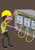 Ηλεκτρολόγος πολυάσχολος με τα εργαλεία του διανυσματική απεικόνιση