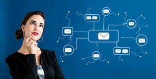Ηλεκτρονικά ταχυδρομεία με την επιχειρησιακή γυναίκα στοκ φωτογραφία με δικαίωμα ελεύθερης χρήσης