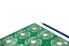 Ηλεκτρονική έννοια σχεδίου, σχέδιο του ηλεκτρονικού κυκλώματος και elec στοκ εικόνα