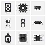 Ηλεκτρονική Σύνολο εννέα επίπεδων εικονιδίων απεικόνιση αποθεμάτων