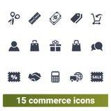 Ηλεκτρονικό εμπόριο, αγορές, λιανικά επιχειρησιακά εικονίδια Στοκ φωτογραφία με δικαίωμα ελεύθερης χρήσης