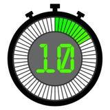 ηλεκτρονικό χρονόμετρο με διακόπτη με έναν πίνακα κλίσης που αρχίζει με πράσινο χρονόμετρο με διακόπτη 10 δ&epsil διανυσματική απεικόνιση